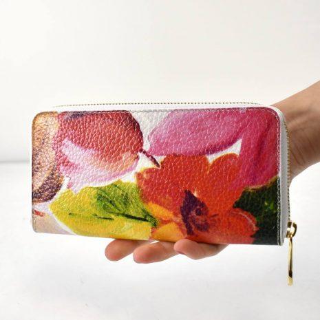 Veľká dámska kožená kvetinová peňaženka