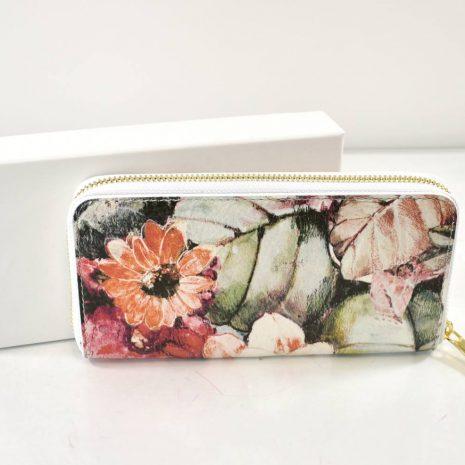 Veľká dámska kožená kvetinová peňaženka ITALY