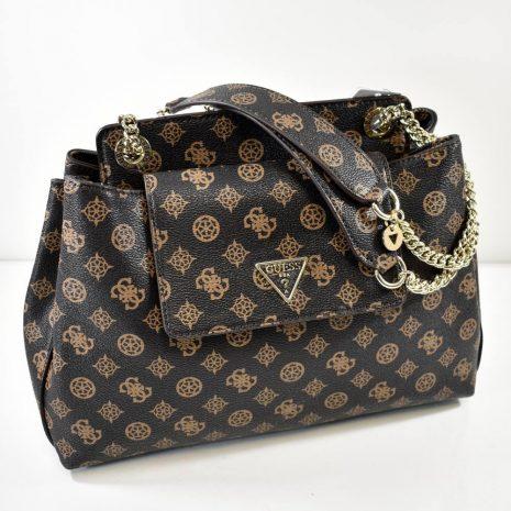 Dámska elegantná hnedá GUESS kabelka s retiazkami