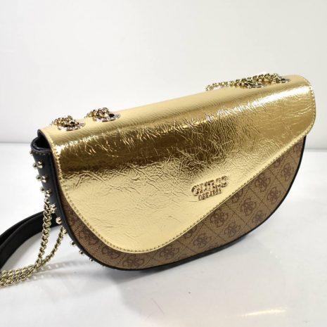Elegantná dámska kabelka v hnedo zlatej farbe s vybíjanými ozdobami