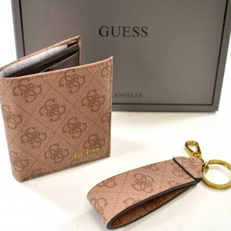Univerzálny set peňaženky a kľúčenky v hnedej farbe s logom guess