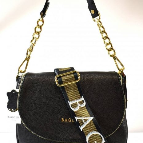 Kožená čierna dámska crossbody kabelka BAGGER
