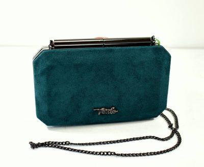 Krásna, elegantná dámska večerná kabelka v smaragdovo zelenej farbe