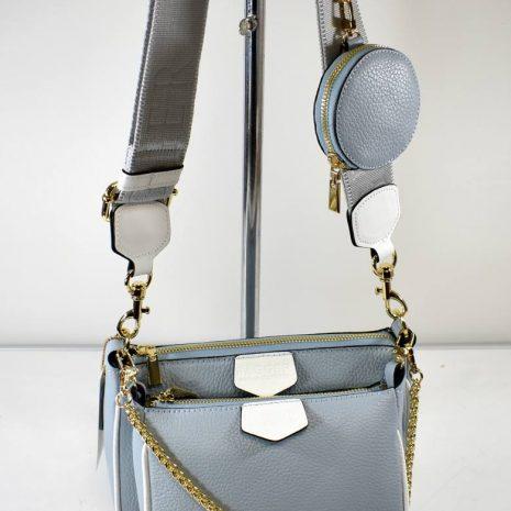 Crossbody kožená modrá kabelka 3v1 BAGGER