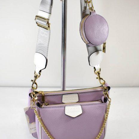 Trojkombinácia kožená fialová kabelka BAGGER