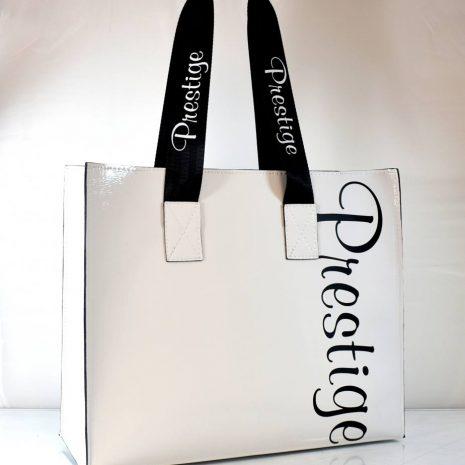 Veľká biela dámska shopper kabelka PRESTIGE