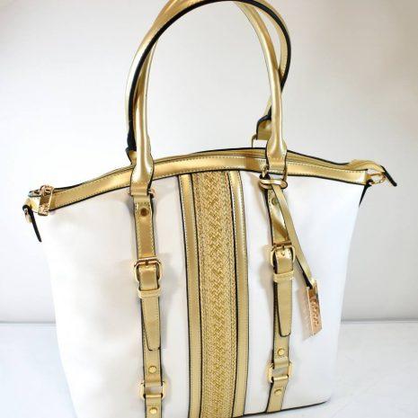 Elegantná bielo zlatá dámska kabelka na rameno