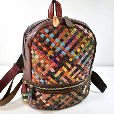 Dámsky kožený farebný ruksak prepletaný ITALY