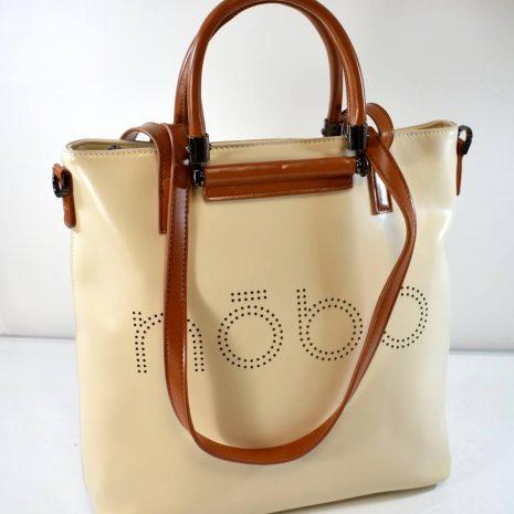 Veľká dámska shopper krémová kabelka