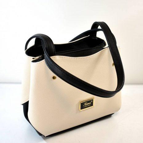 Dámska krémová elegantná kabelka na rameno