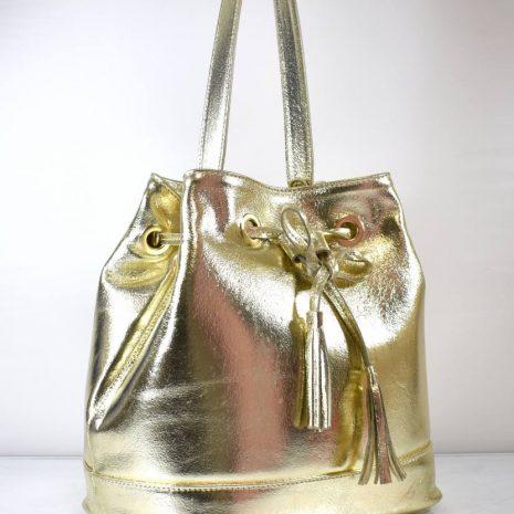 Vaková crossbody kožená zlatá dámska kabelka