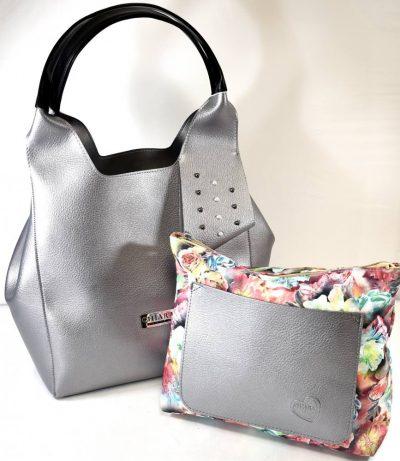 Športovo elegantná dámska kabelka s dvomi ušami na rameno a kozmetickou kvetinovou taškou