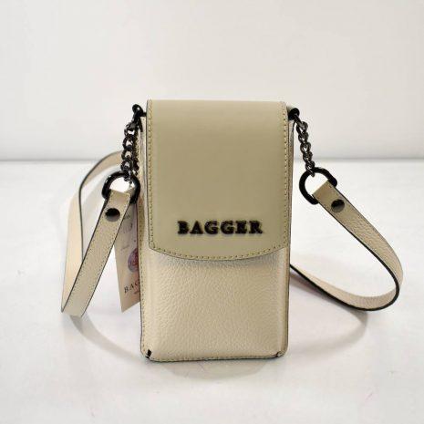 Mini crossbody krémová kožená taštička BAGGER