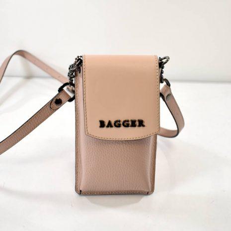 Mini crossbody pudrová kožená taštička BAGGER