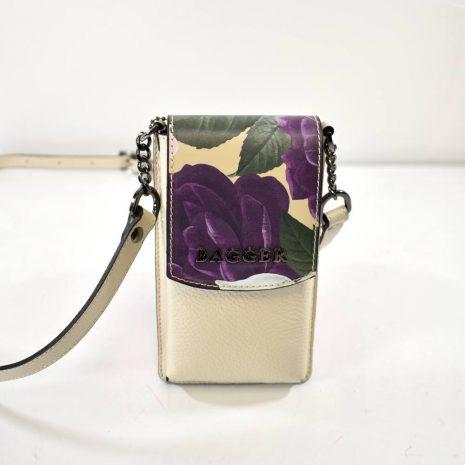 Mini crossbody kvetinová kožená taštička BAGGER