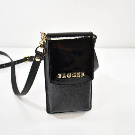 Mini crossbody čierna laková kožená taštička BAGGER