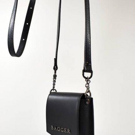 Čierne kožené crossbody puzdro na telefón BAGGER