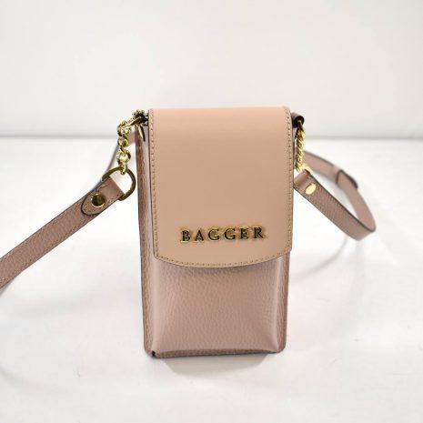 Pudrové kožené crossbody puzdro na telefón BAGGER