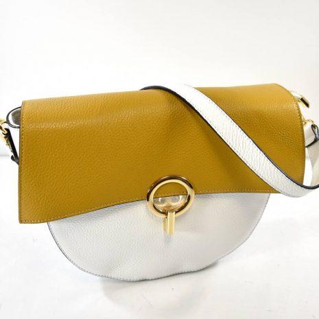 Elegantná kožená dámska okrovo biela kabelka ITALY