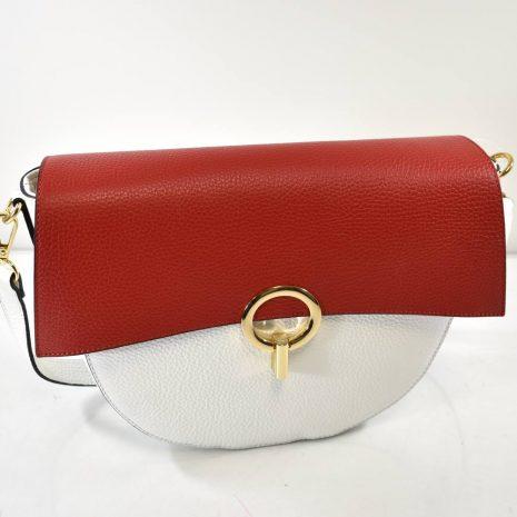 Elegantná kožená dámska červeno biela kabelka