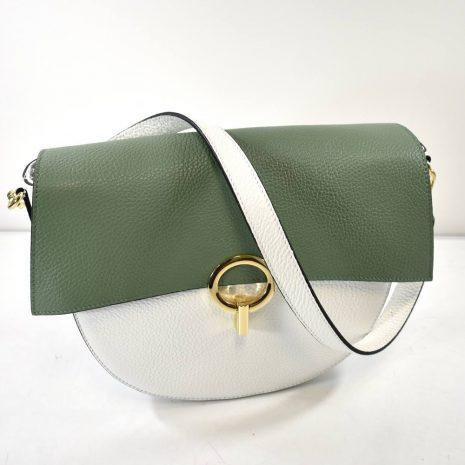Elegantná kožená dámska zeleno biela kabelka