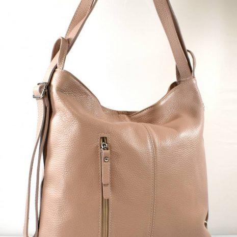 Kožená dámska kabelka a ruksak 2v1 pudrová
