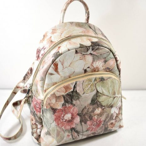 Elegantný dámsky kvetinový kožený ruksak