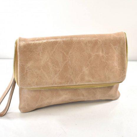 Listová kožená dámska pudrová kabelka