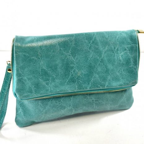 Listová kožená dámska zelená crossbody kabelka ITALY
