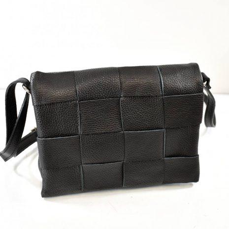 Kožená dámska crossbody čierna kabelka ITALY