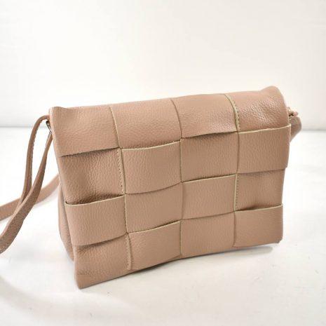 Kožená dámska crossbody pudrová kabelka