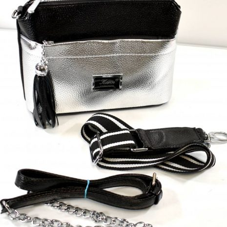 Crossbody dámska čierno strieborná kabelka KAREN K935