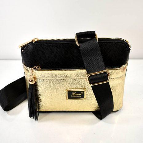 Štýlová crossbody dámska čierno zlatá kabelka