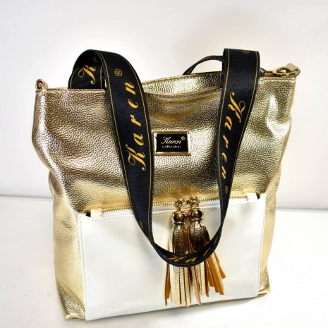 Dámska veľká shopper zlatá kabelka
