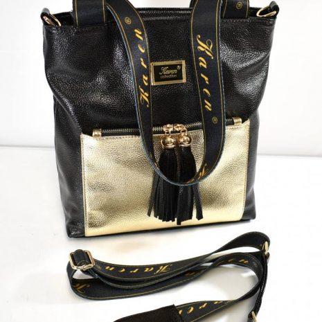 Dámska veľká shopper čierno zlatá kabelka
