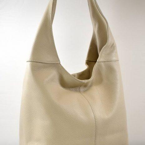 Dámska praktická kožená krémová kabelka