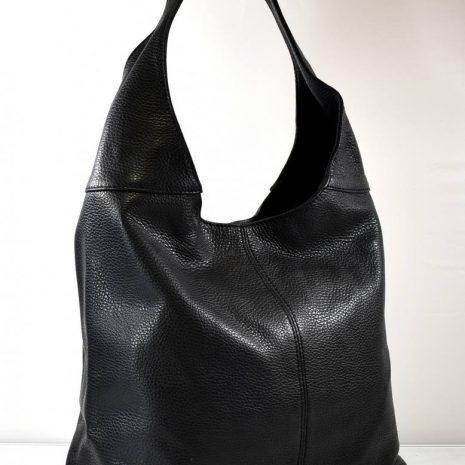 Dámska praktická kožená čierna kabelka ITALY