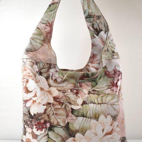 Dámska kožená kvetinová farebná kabelka