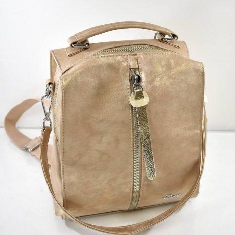 Dámsky štýlový hnedo zlatistý ruksak