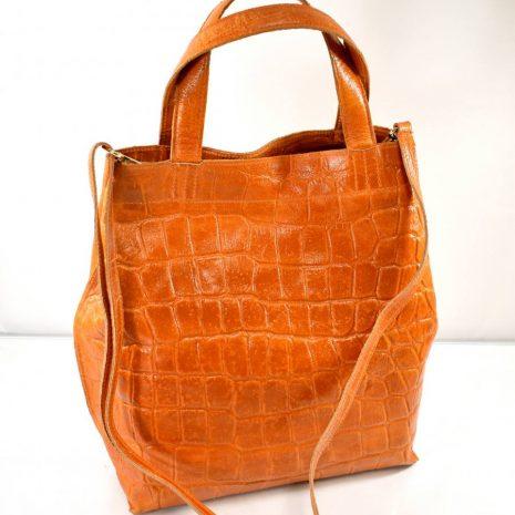 Dámska kožená vzorová oranžová kabelka ITALY
