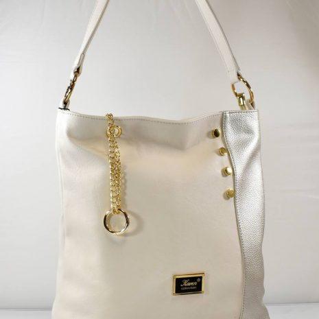 Praktická dámska kabelka do práce krémová