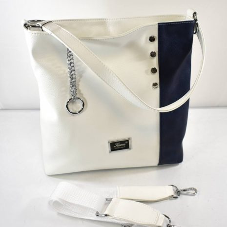 Praktická dámska kabelka do práce bielo modrá