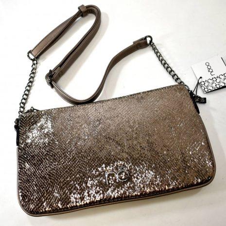 Dámska listová spoločenská kabelka metalická