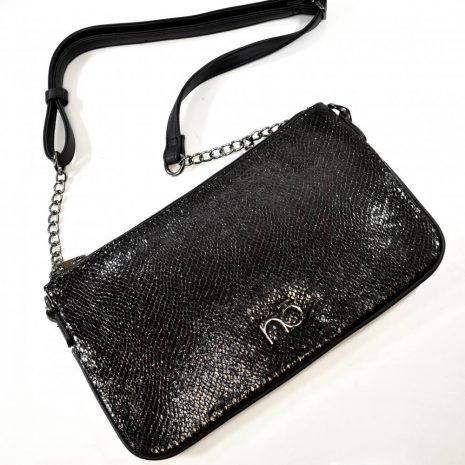 Dámska spoločenská listová čierna kabelka