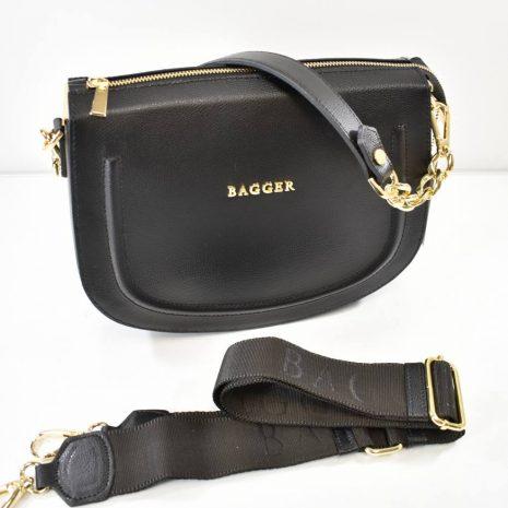 Športovo elegantná kožená čierna kabelka BAGGER