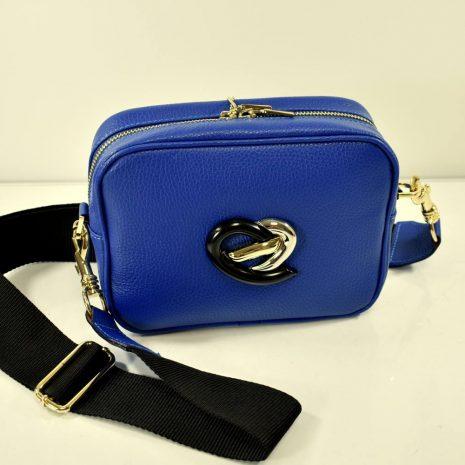 Dámska crossbody kožená modrá kabelka BAGGER
