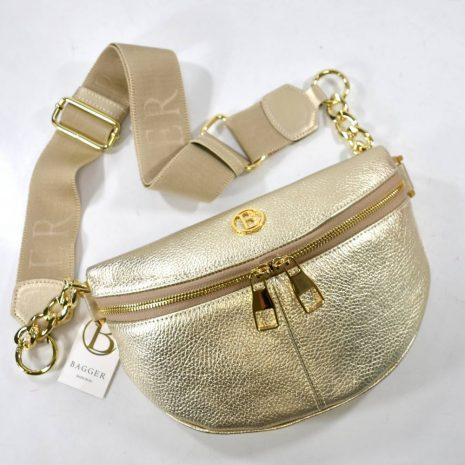 Kožená dámska elegantná zlatá ľadvinka BAGGER
