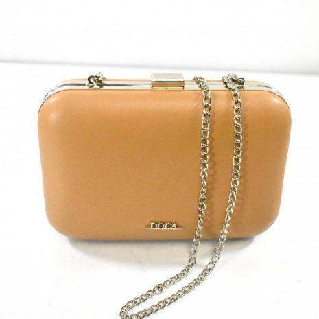 Spoločenská dámska hnedá kabelka s retiazkou DOCA