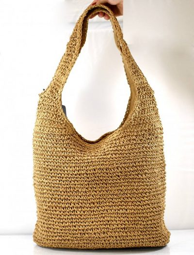 Praktická športovo elegantná kabelka/taška v hnedej prírodnej farbe s dvomi ušami na rameno
