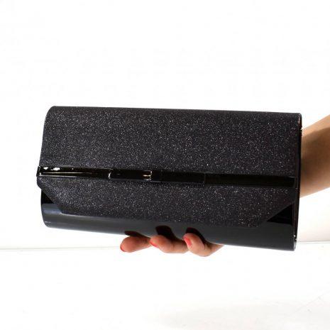 Dámska listová čierna trblietavá kabelka